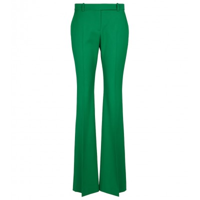 Alexander McQueen Women Pants New Look - Low-rise virgin wool flared pants Chrome Green Relaxed 24P5I3480